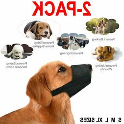 2X Pet Adjustable Dog Muzzle Fabric Nylon Comfortable Soft N