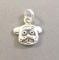 .925 Sterling Silver Small DOG FACE CHARM NEW Cute Puppy Muz