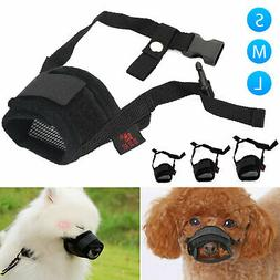 Adjustable Dog Muzzle Anti Stop Bite Barking Chewing Mesh Tr