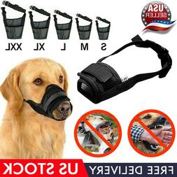 Adjustable Pet Dog Mask Bark Bite Mesh Mouth Muzzle Nylon +