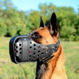 Belgian Malinois Leather Muzzle for Attack | Solid K9 Traini