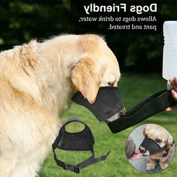Black Pet Adjustable Dog Muzzle Fabric Comfortable Soft Anti