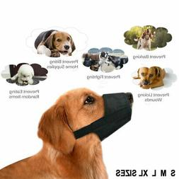 Black Pet Adjustable Dog Muzzle Fabric Nylon Comfortable Sof