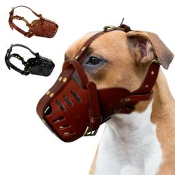 Dog Muzzles for Large Dogs Leather Adjustable Bull Terrier P