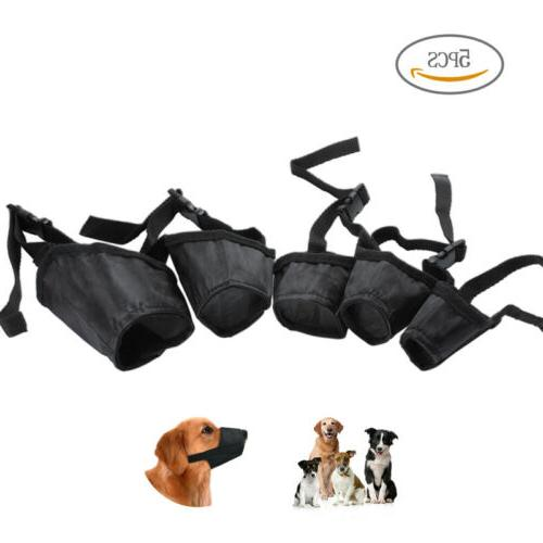 5 Pcs Pet Adjustable Dog Muzzle Fabric Nylon Comfortable Sof