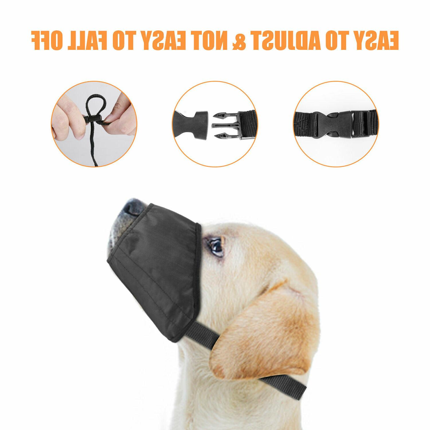 Black Pet Dog Muzzle Soft Anti-Stop Bark S-L