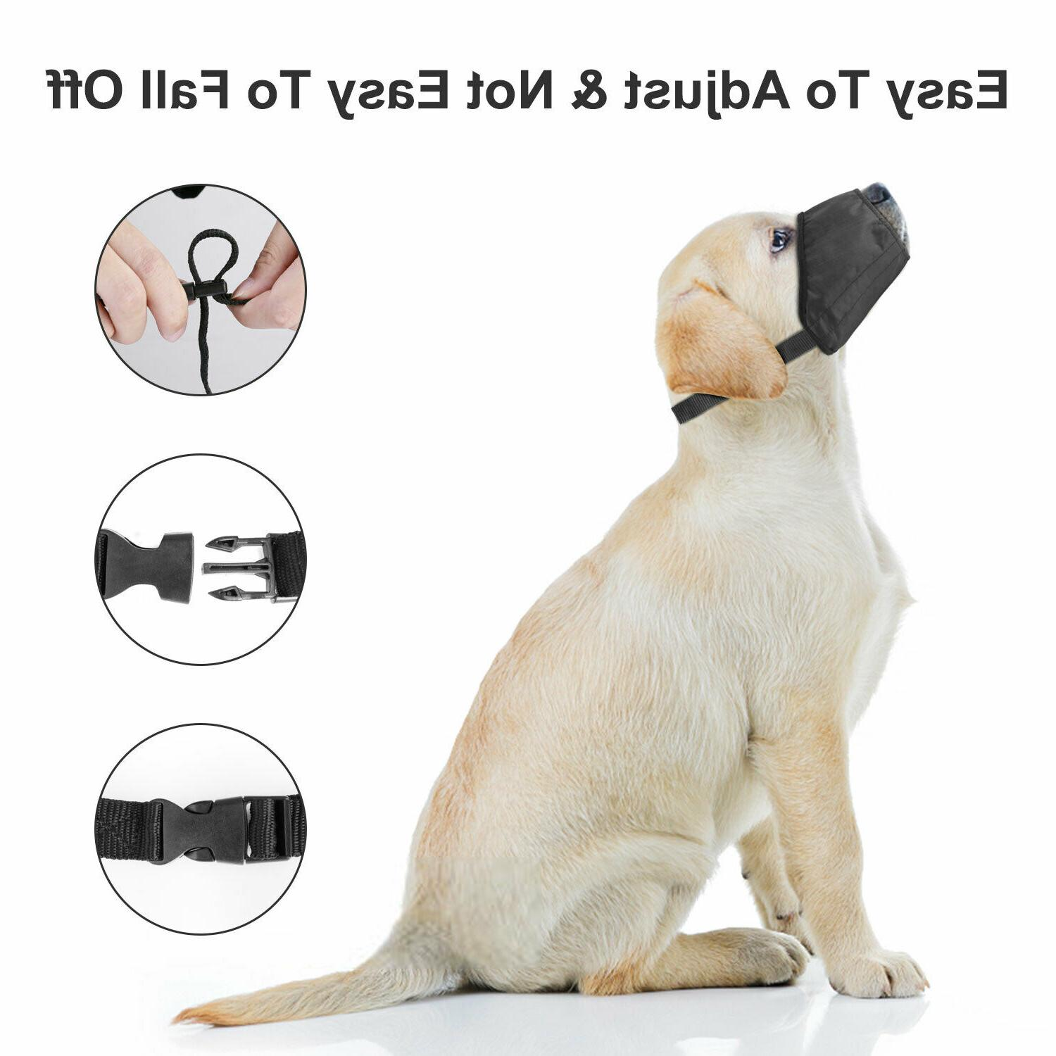Black Adjustable Dog Muzzle Fabric Soft Anti-Stop S-L