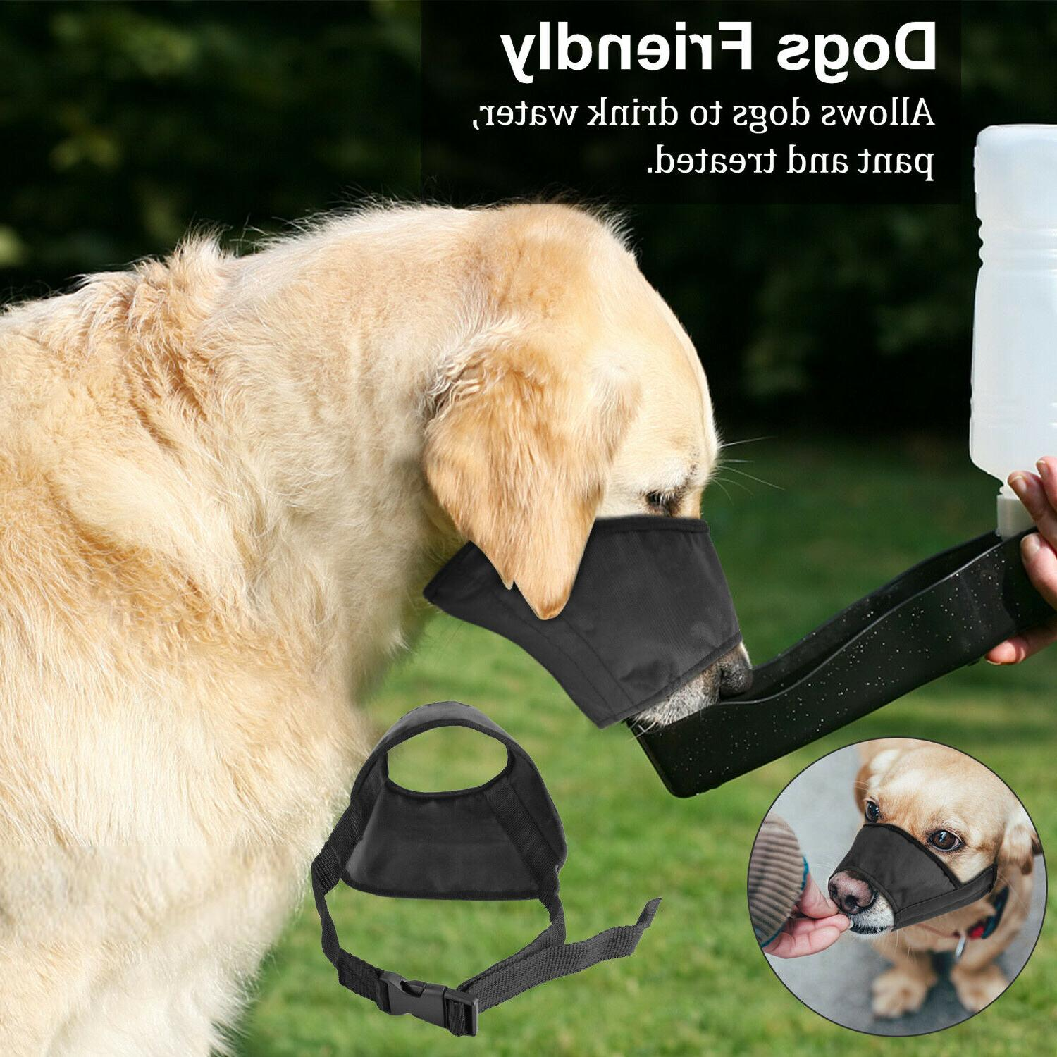 black pet adjustable dog muzzle fabric comfortable