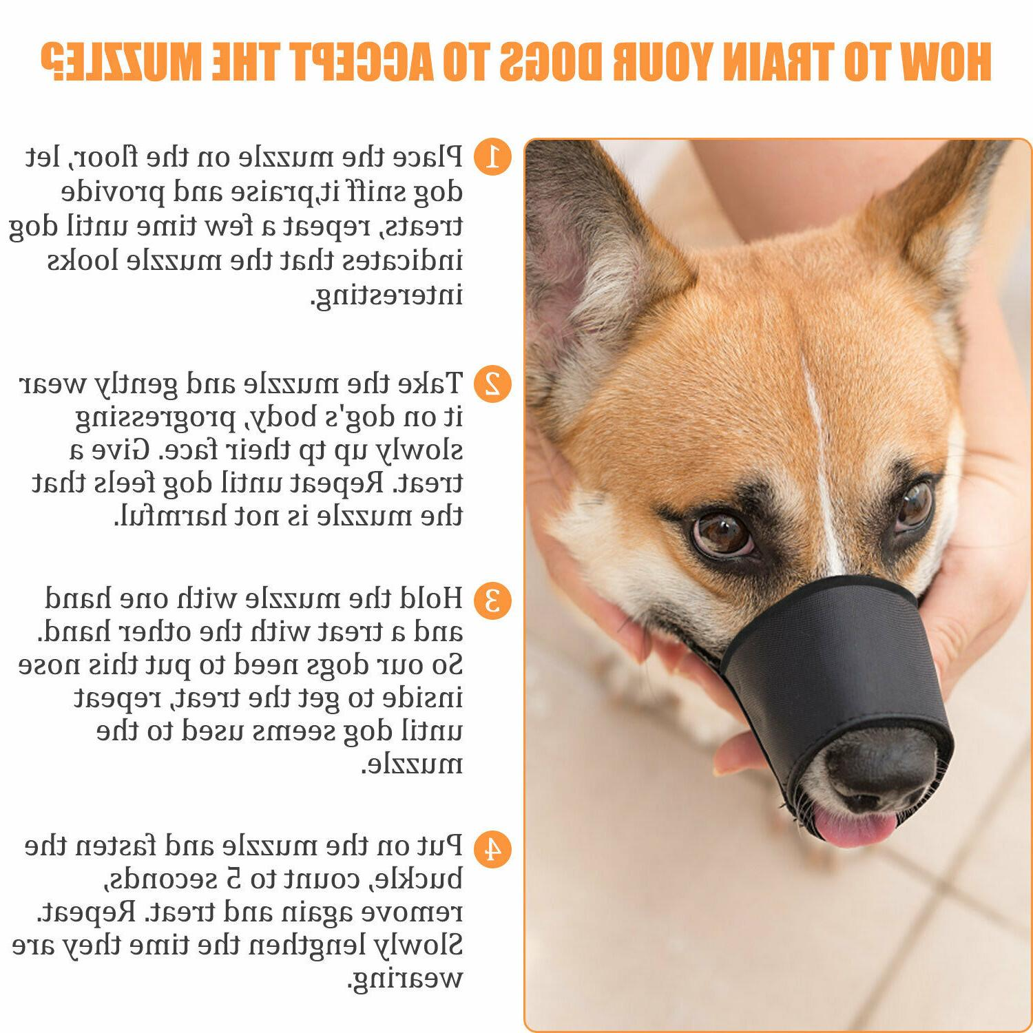 Black Pet Adjustable Dog Muzzle Fabric Anti-Stop S-L