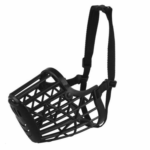 Large Pet Dog Muzzle Cage Biting Chewing Black