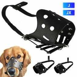 Leather Dog Muzzle for Barking Muzzles Allow Drink Adjustabl
