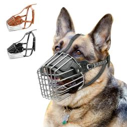 Metal Wire Dog Muzzle Safety Leather Anti-Bark Cage Basket N