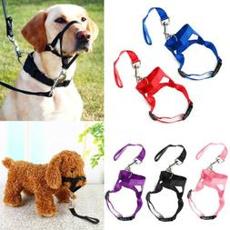 Dog Muzzle Head Mouth Nose Stop Pulling Halter Training Lead
